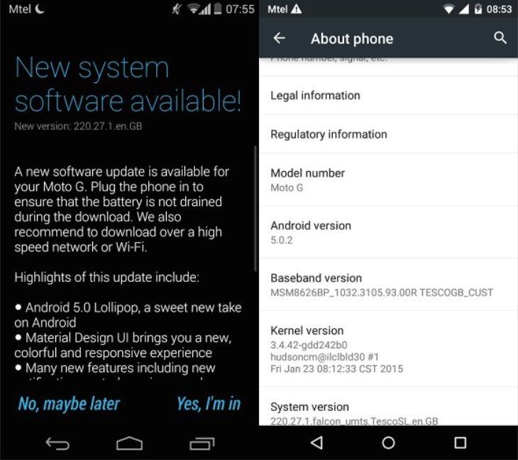 Original Moto G update