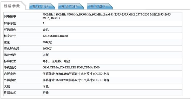 Potential Samsung Galaxy Golden 3 specs from certification