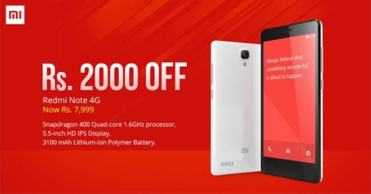 Redmi Note 4G India price slash