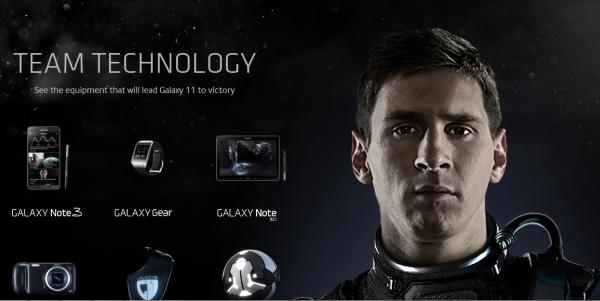 Samsung Galaxy 11 campaign, Lionel Messi and equipment