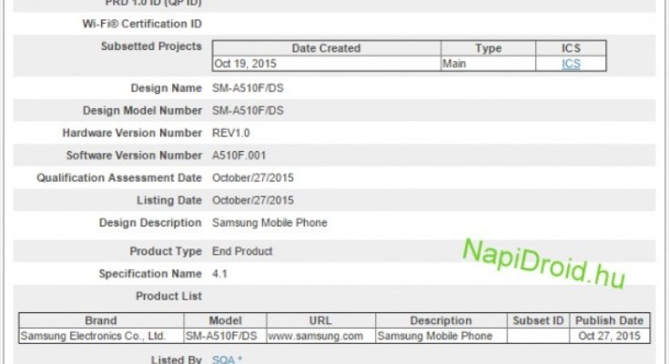 Samsung Galaxy A5 2nd gen sighted