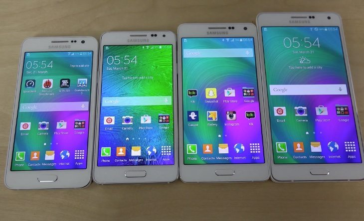 Samsung Galaxy A7 vs A5, A3 and Alpha Internet and bootup tests