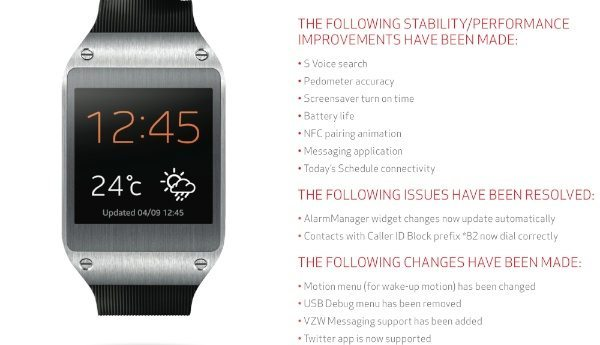 Samsung Galaxy Gear Verizon update imminent