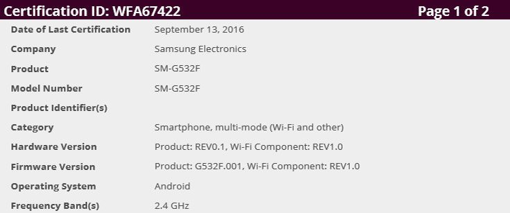 Samsung Galaxy Grand Prime gets Wi-Fi certification, could launch soon!