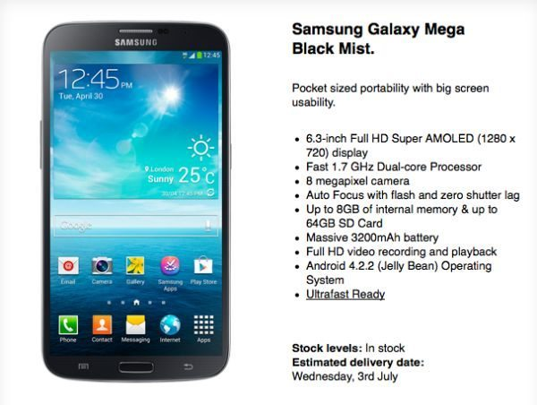 Samsung Galaxy Mega 6.3 price on Three UK
