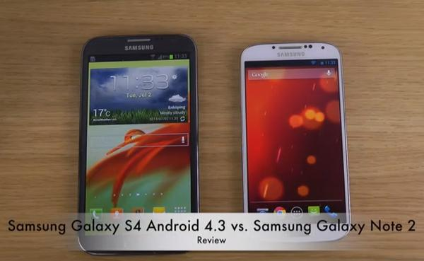 Samsung Galaxy Note 2 vs. S4 on Android 4.3 Jelly Bean ...