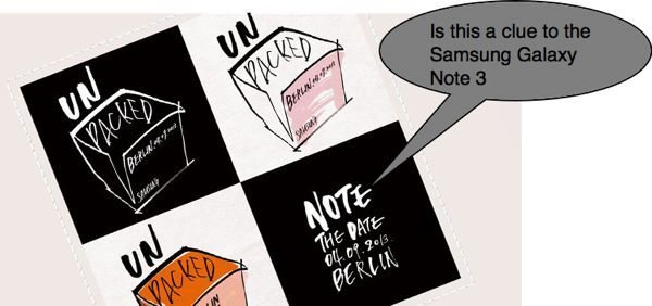Samsung Galaxy Note 3 clue in Unpacked Event invitation