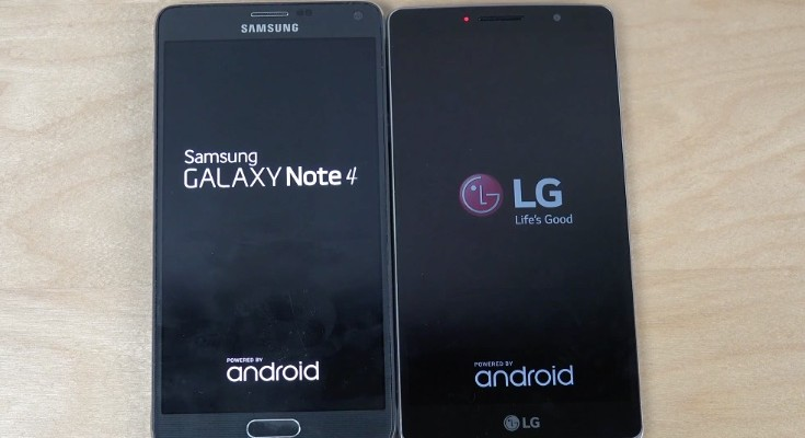 Samsung Galaxy Note 4 vs LG G4 Stylus in bootup speed test