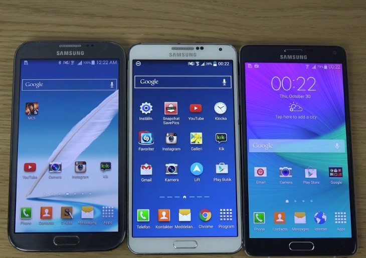 Samsung Galaxy Note 4 vs Note 3 vs Note 2 boot-up speed test