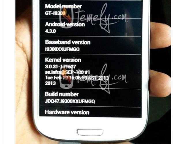 Samsung Galaxy S3 seen with Android 4.3