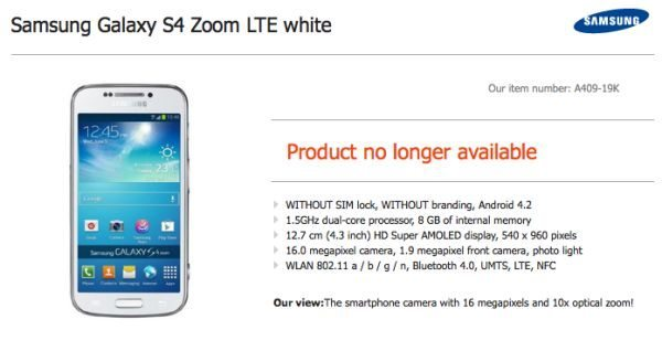 Samsung Galaxy S4 Zoom LTE white