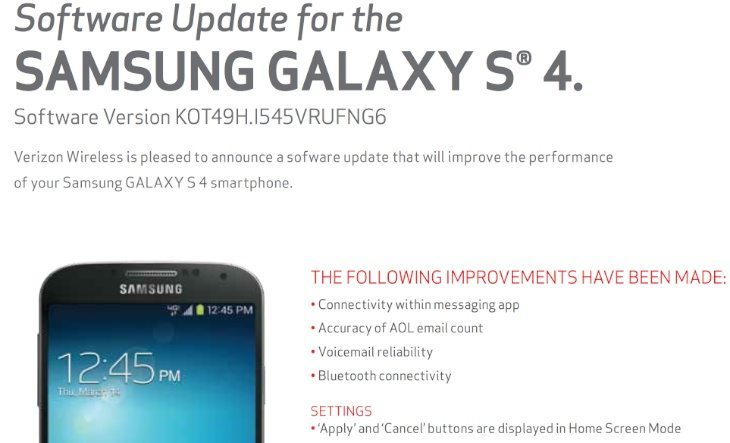 Samsung Galaxy S4 on Verizon update