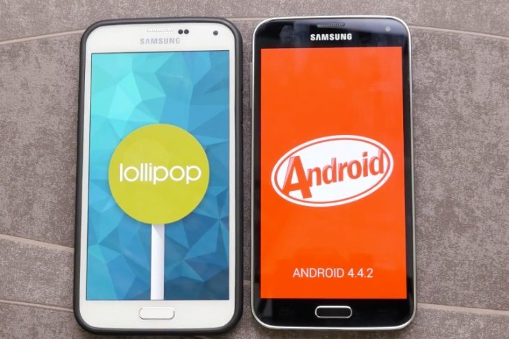 Samsung Galaxy S5 Android Lollipop UI  vs Galaxy S5 on KitKat