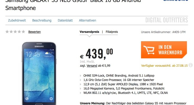Samsung Galaxy S5 Neo shipping date