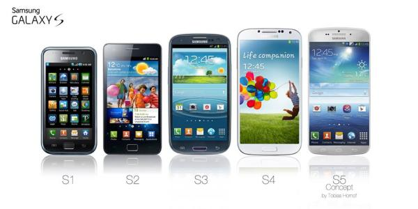 Samsung Galaxy S5 design compared to older models