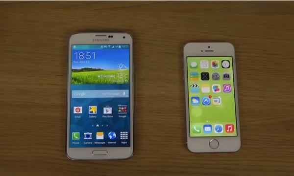 Samsung Galaxy S5 vs iPhone 5S iOS 7.1 Internet speed test