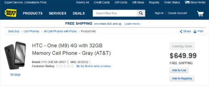 Samsung Galaxy S6 and HTC One M9 prices