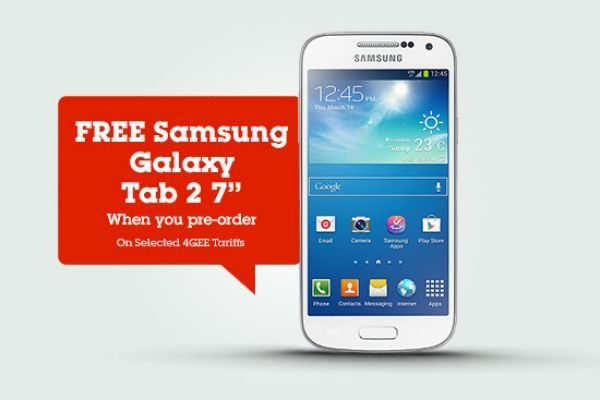 Samsung Galaxy Tab 2 free with S4 Mini on EE 4G, T-Mobile