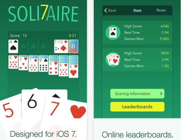 Solitaire 7 app for iPhone helps pass the time