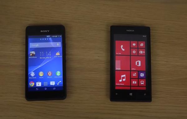 Sony Xperia E1 vs Nokia Lumia 520 speed test comparison