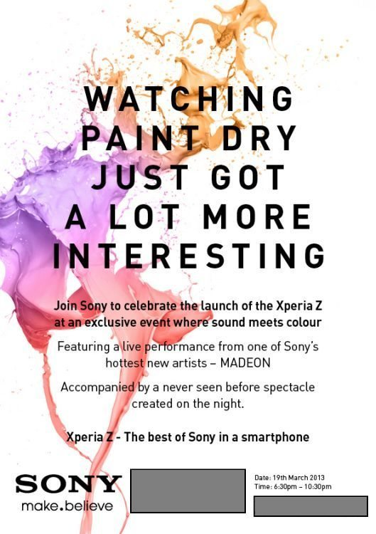 Sony Xperia Z Exclusive London Event March 19th at 6-30pm