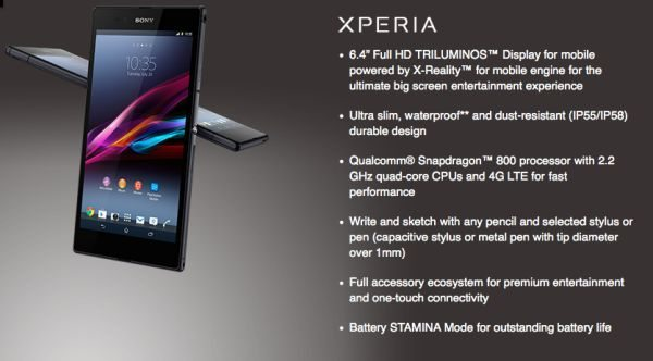 Sony Xperia Z Ultra 6.4-inch heavy specs and videos