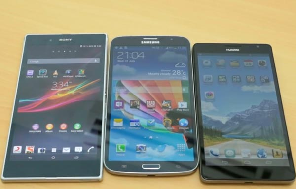 Sony Xperia Z Ultra vs. Ascend Mate and Galaxy Mega 6.3