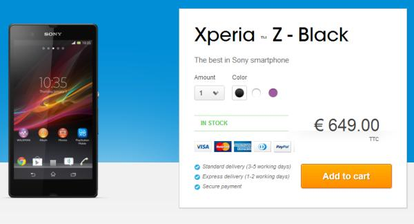 Sony Xperia Z goes on sale early in France
