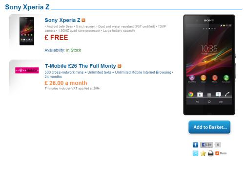 Sony Xperia Z now free on selected UK tariffs