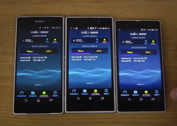 Sony Xperia Z2 vs Z1 and Z Internet benchmark speeds b