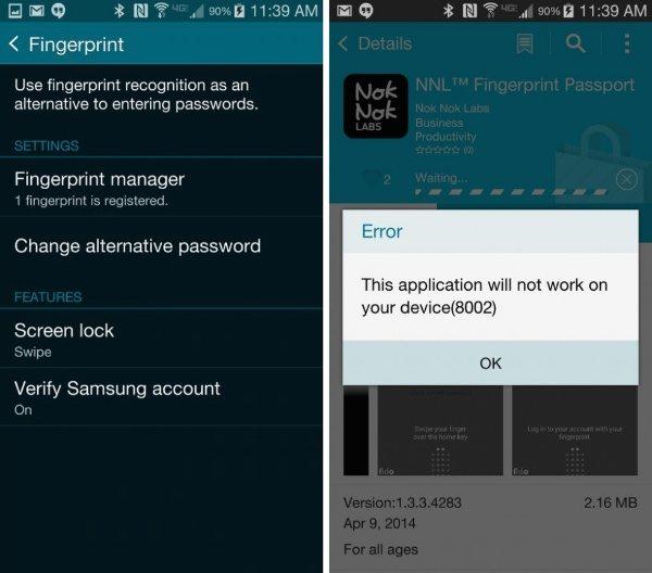 Verizon Samsung Galaxy S5 PayPal fingerprint support disabled