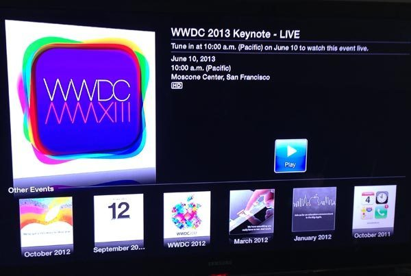WWDC 2013 keynote, live video coverage on Apple TV