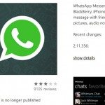 WhatsApp Windows Phone app disappears for now