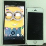White Sony Xperia Honami pictured next to iPhone 5