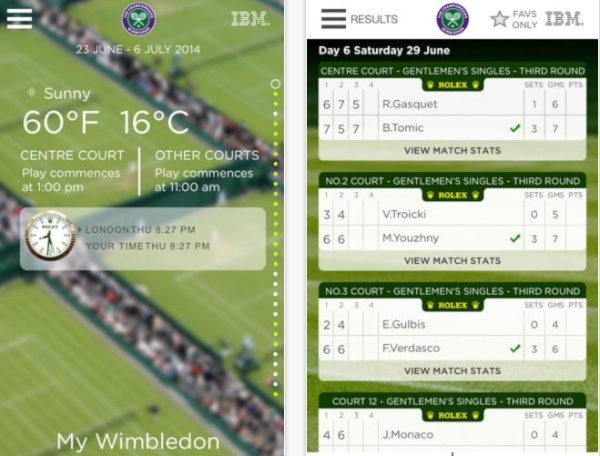 Wimbledon 2014 official app for iPhone, iPad and Android