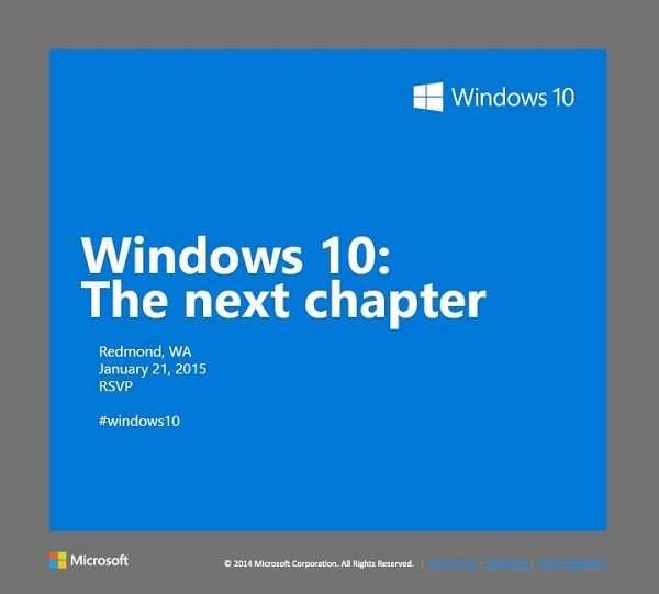 Windows 10 event scheduled for January 21