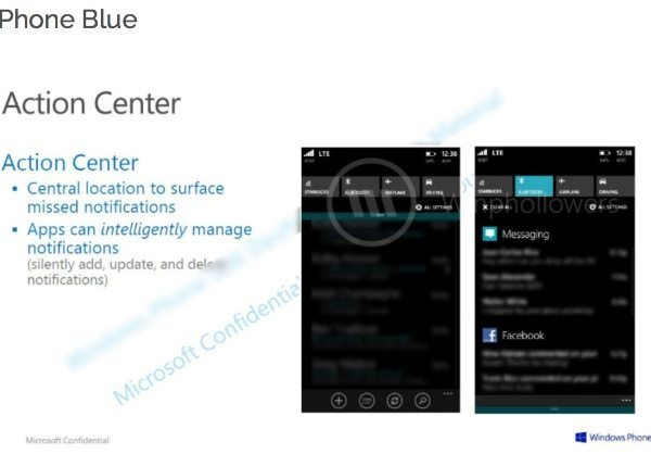 Windows Phone 8.1 Action Center notifications leak