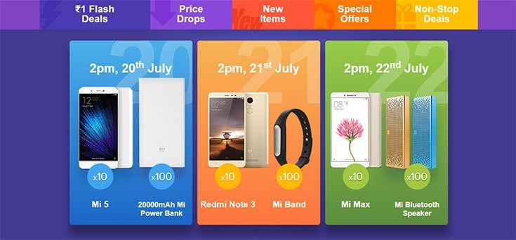 Xiaomi 1 Rupee Sale, Get Mi5, Mi Max, Redmi Note 3 for just 1 rupee