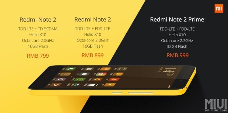 Xiaomi Redmi Note 2 and Note 2 Prime