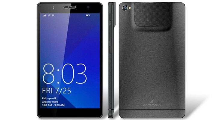 Akyumen Holophone is a Dual-Boot phablet with a Pico Projector