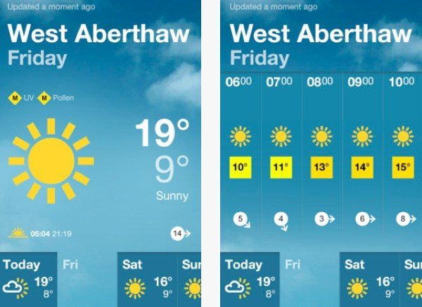 BBC Weather app vs Weather Channel app