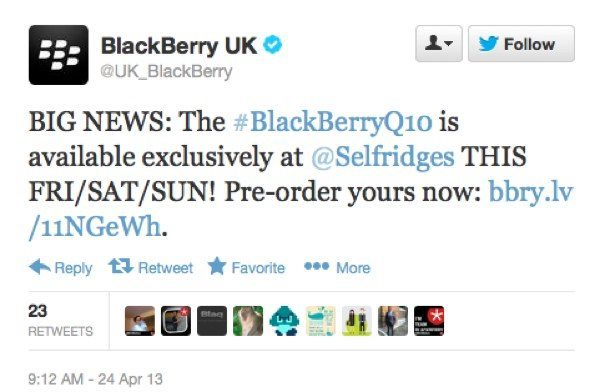 BlackBerry Q10 early availability at Selfridges from April 26