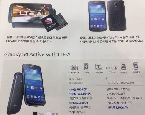 Samsung Galaxy S4 Active LTE-A adds Snapdragon 800