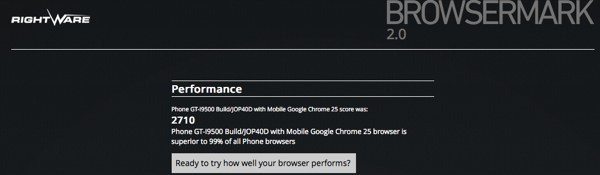 Samsung Galaxy S4 vs HTC One in Browsermark test comparison