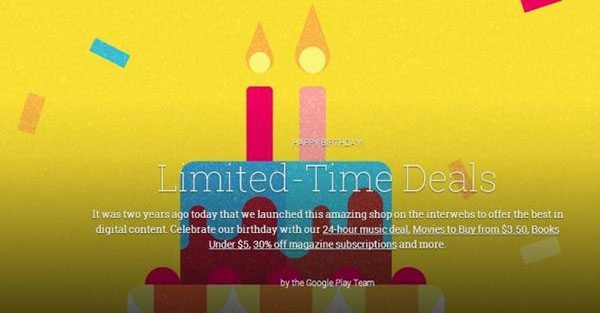 Google Play celebrating its second birthday with special deals