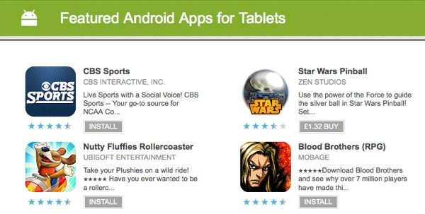 Google Play rolls out new best tablet apps category