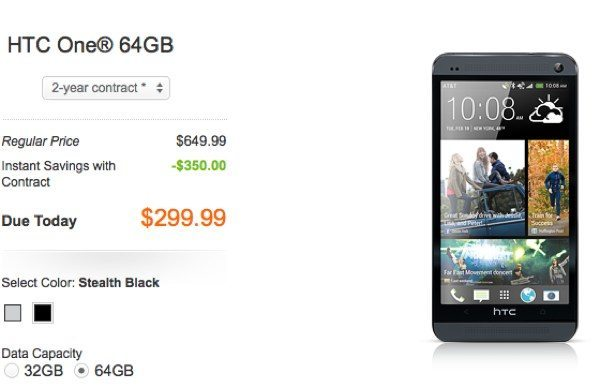 HTC One in black 32 or 64GB version arrives at AT&T