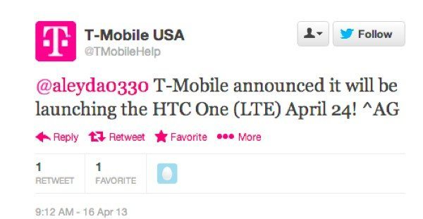 HTC One April 24 arrival at T-Mobile USA
