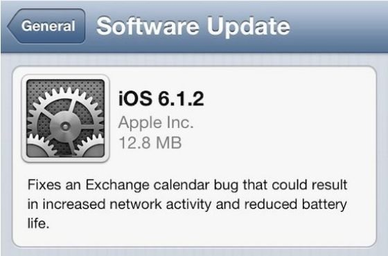 iOS 6.1.2 released without substantial changes