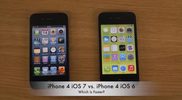 iOS 7 vs iOS 6 speed test on iPhone 4
